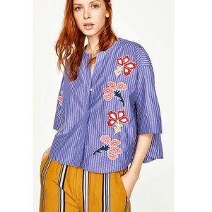 ZARA WOMAN  floral embroidered top